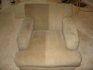 before and after upholstery cleaning on chair
